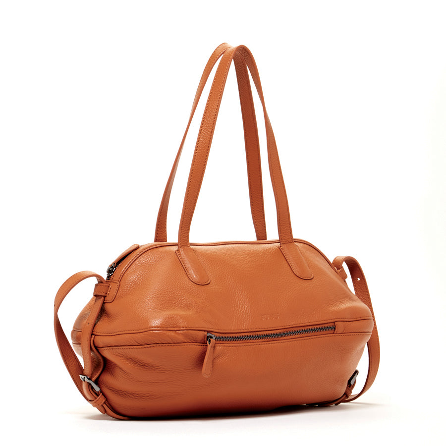 brown leather stachel bag