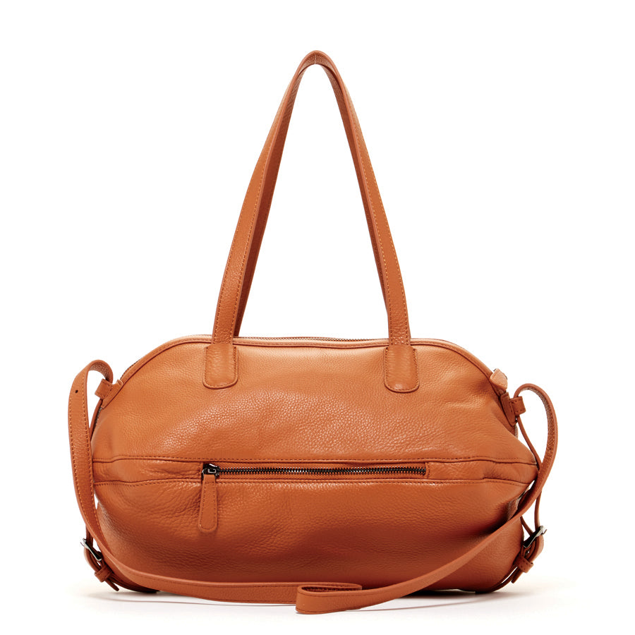 brown leather stachel purse