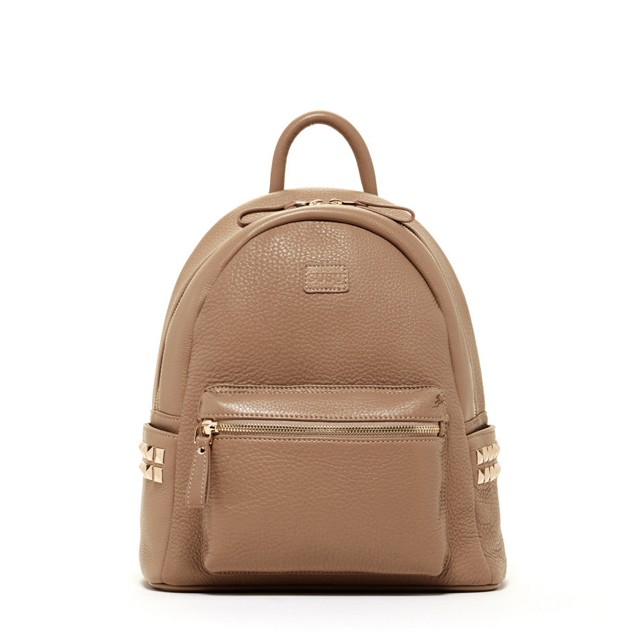 Warm Gray Leather Backpack