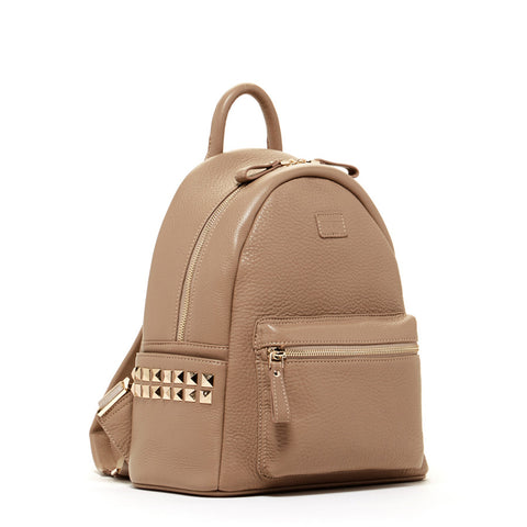 Diana - Cement Leather Backpack with Studs