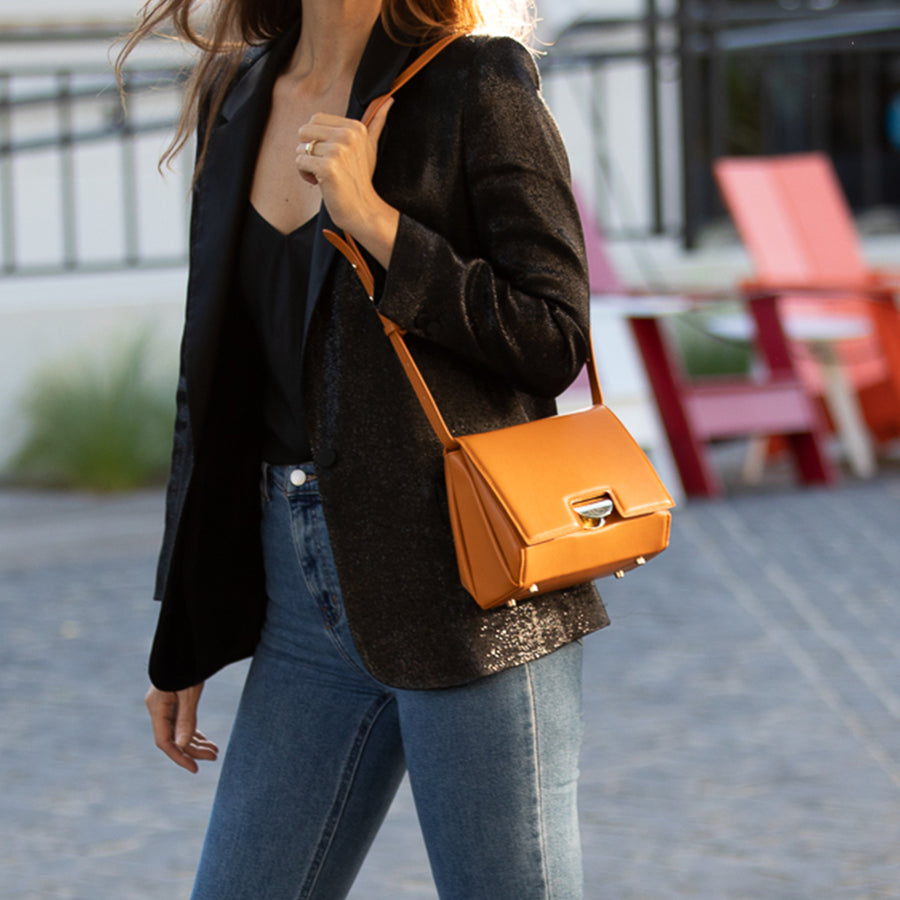 Orange Crossbody Saddle Bag | SUSU Handbags