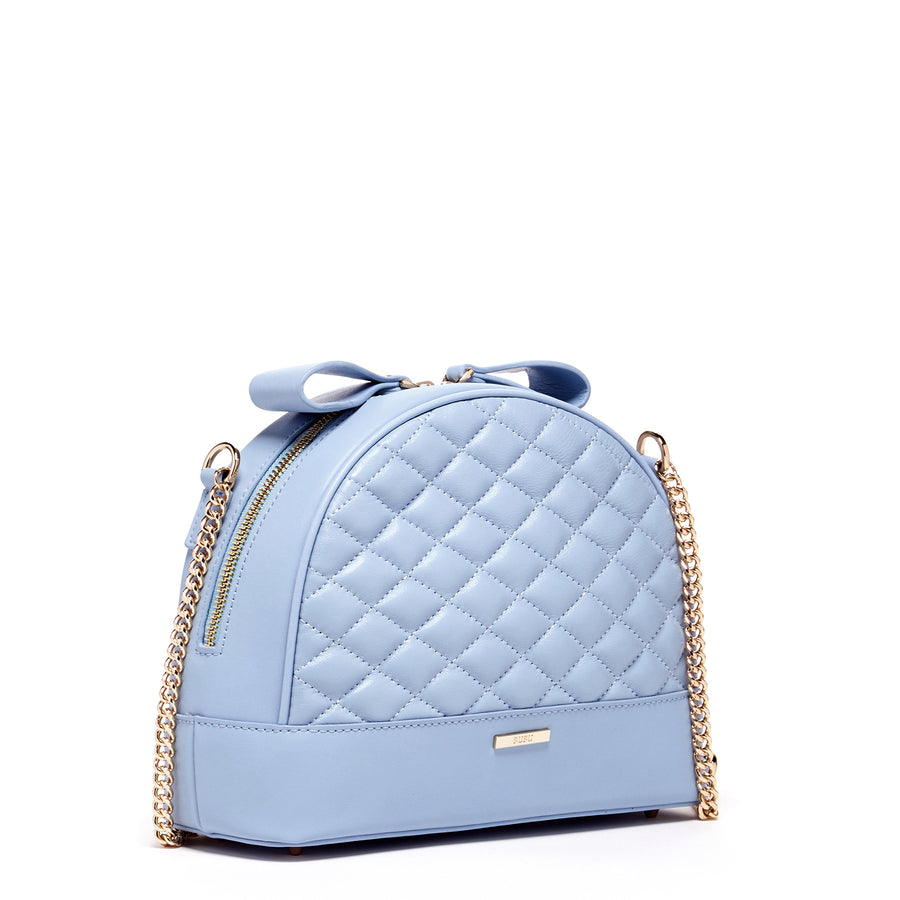 Blue Quilted Leather Handbag