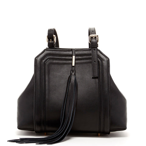 Hannah Leather Satchel With Tassels Black