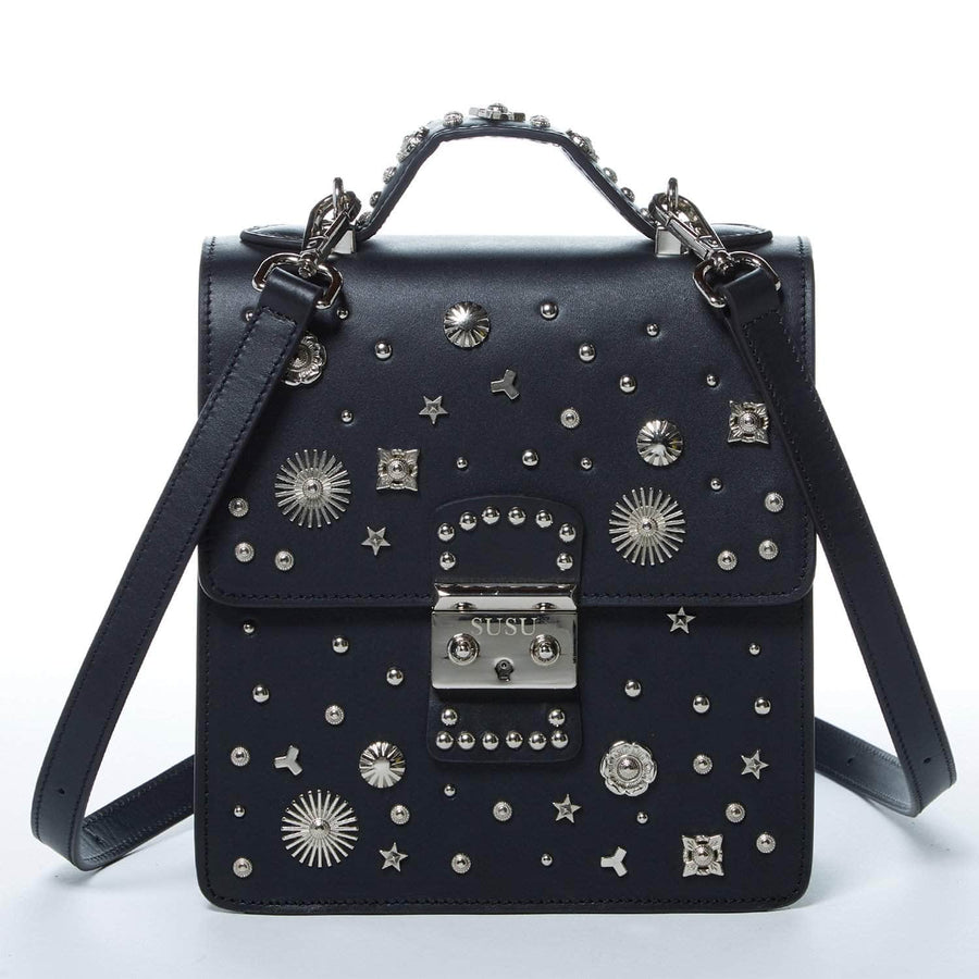 Black Leather Studded Backpack
