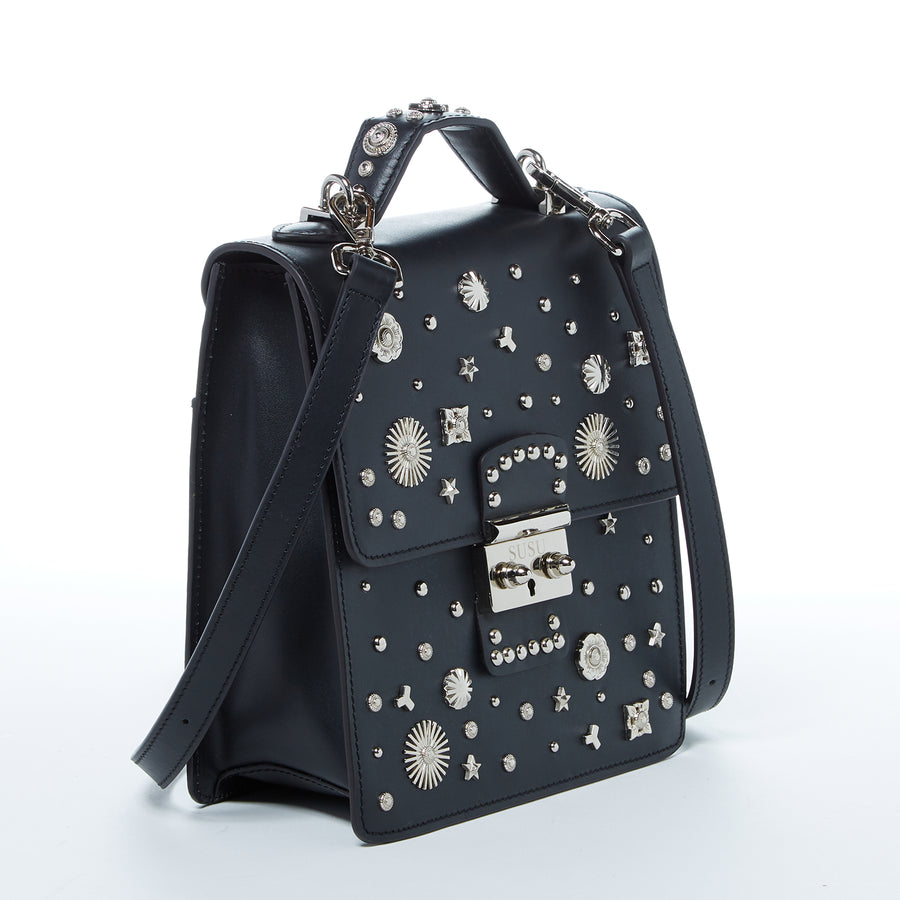 Black studded leather backpack purse