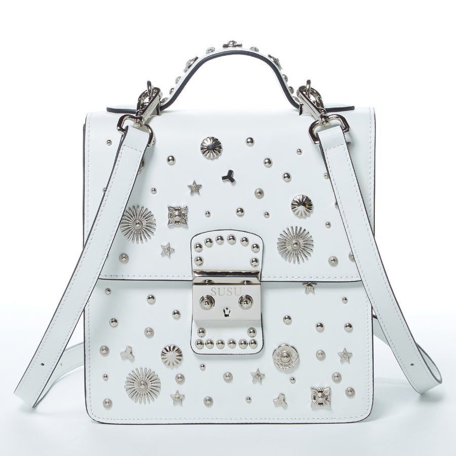 White Luxury Leather Studded Backpack