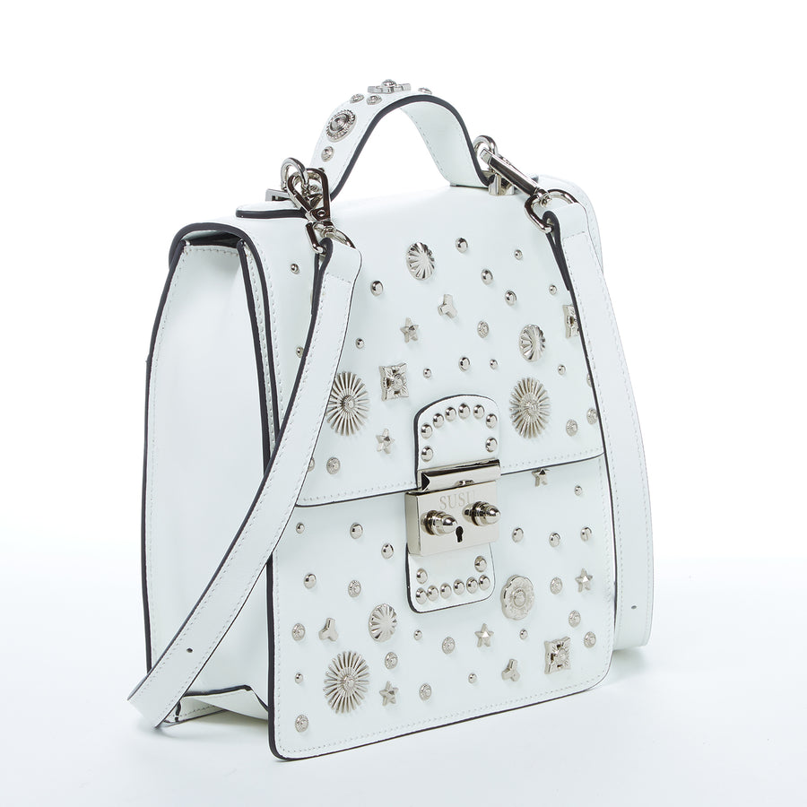 White Leather Studded Bag | SUSU Handbags