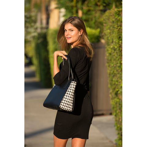 The Jody - Two Tone Black Leather Animal Print Tote