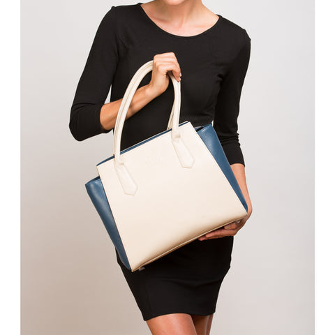 The Jody Two Tone Tote Ivory Leather Shoulder Bag