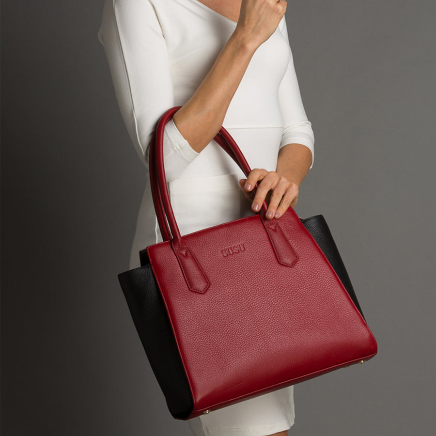 Red leather handbag l SUSU Handbags