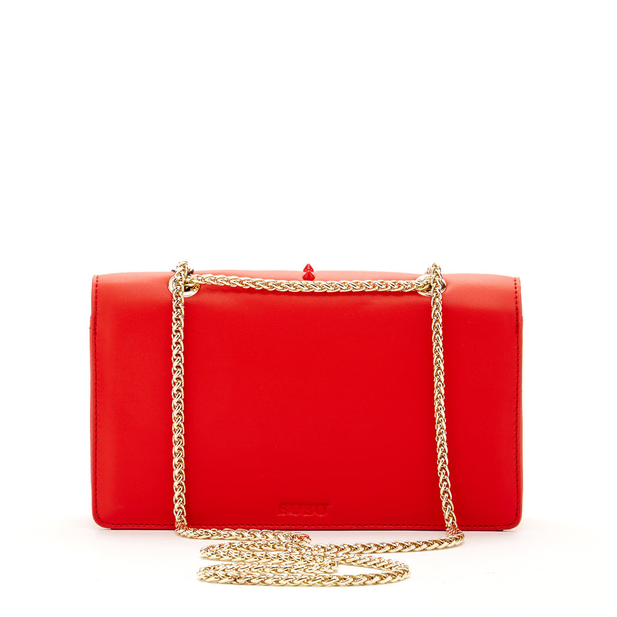 Leather red handbag | SUSU Handbags