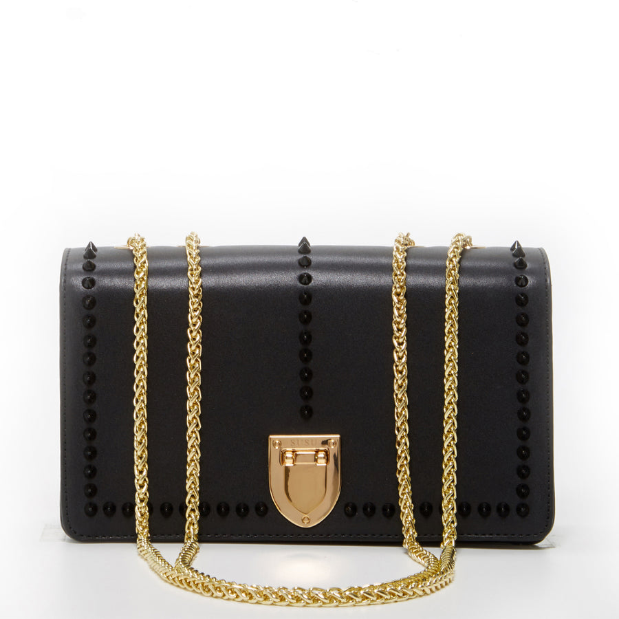 Black leather crossbody bag | SUSU Handbags