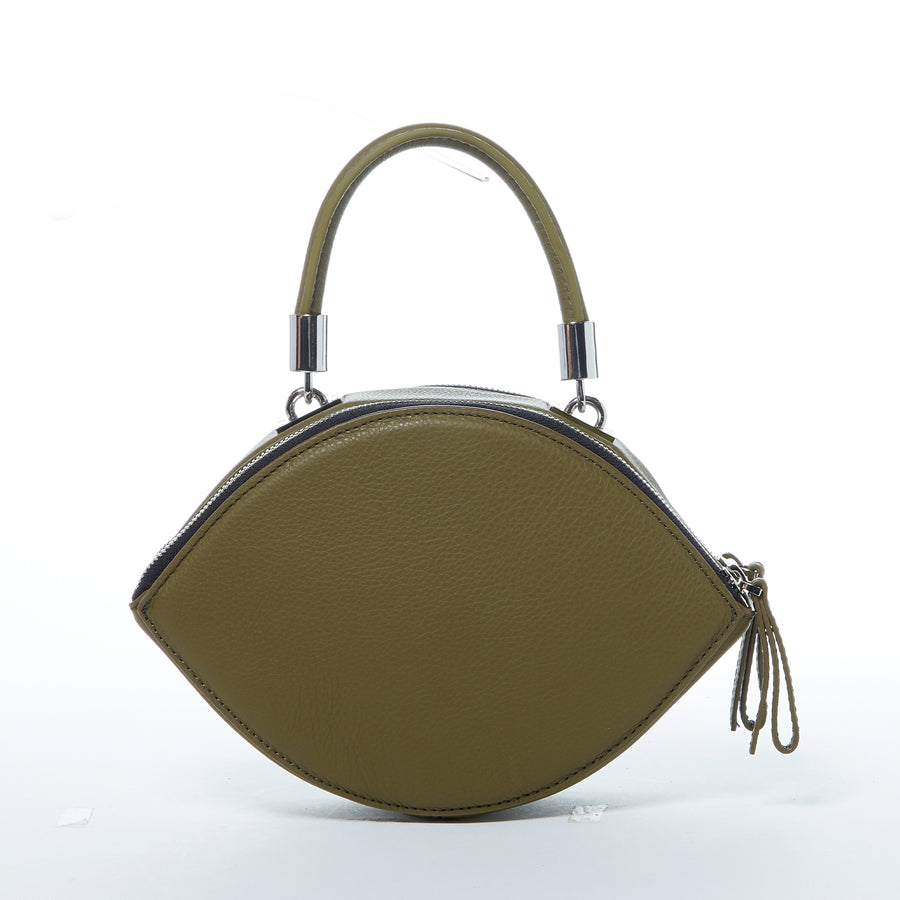 Olive green leather handbag | SUSU Handbags