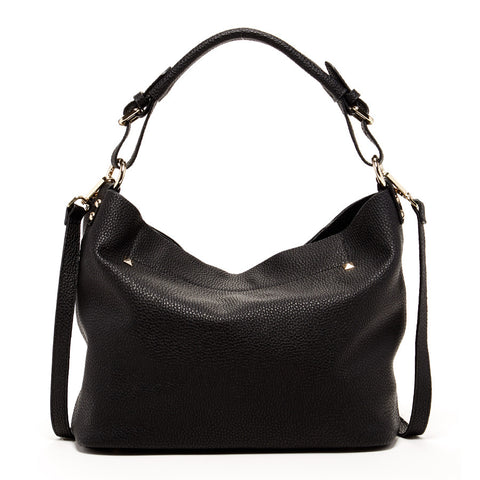 Lauren Leather Hobo Bag with Crossbody Strap Black