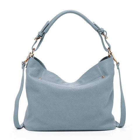 Lauren Leather Hobo Bag with Crossbody Strap Faded Denim