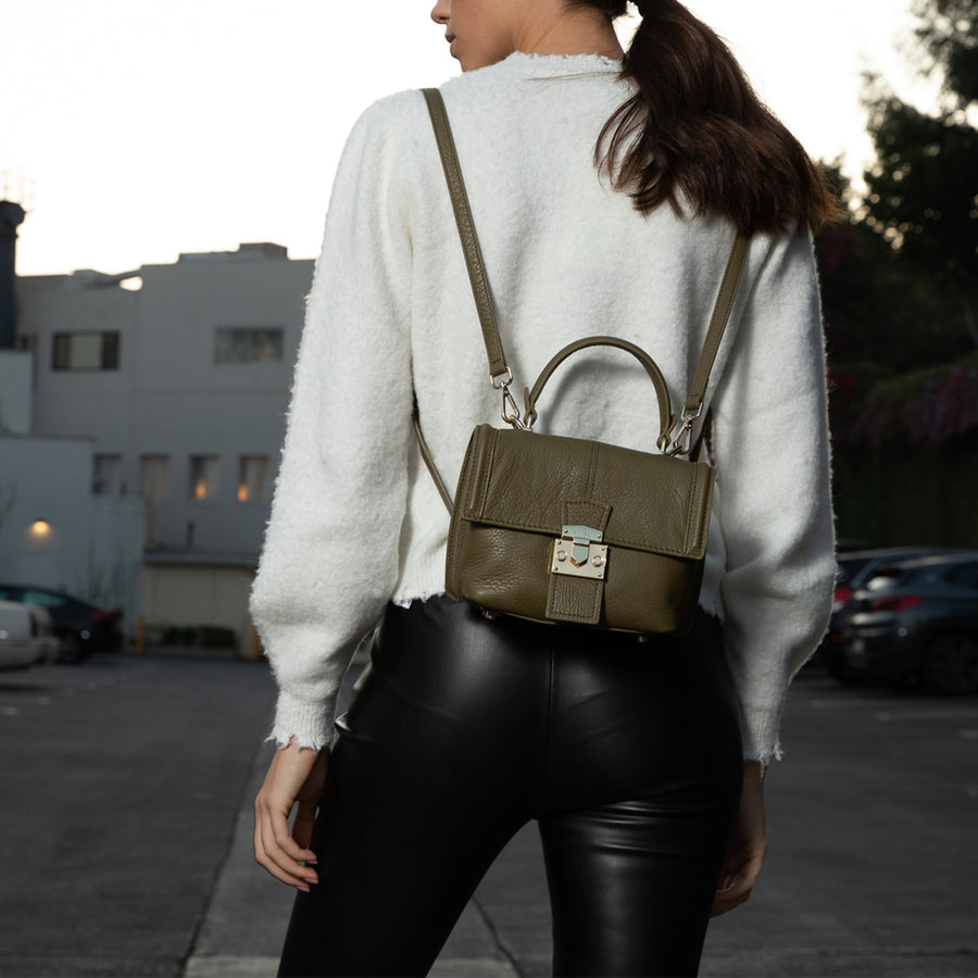 Olive Green Convertible Leather Backpack | SUSU Handbags