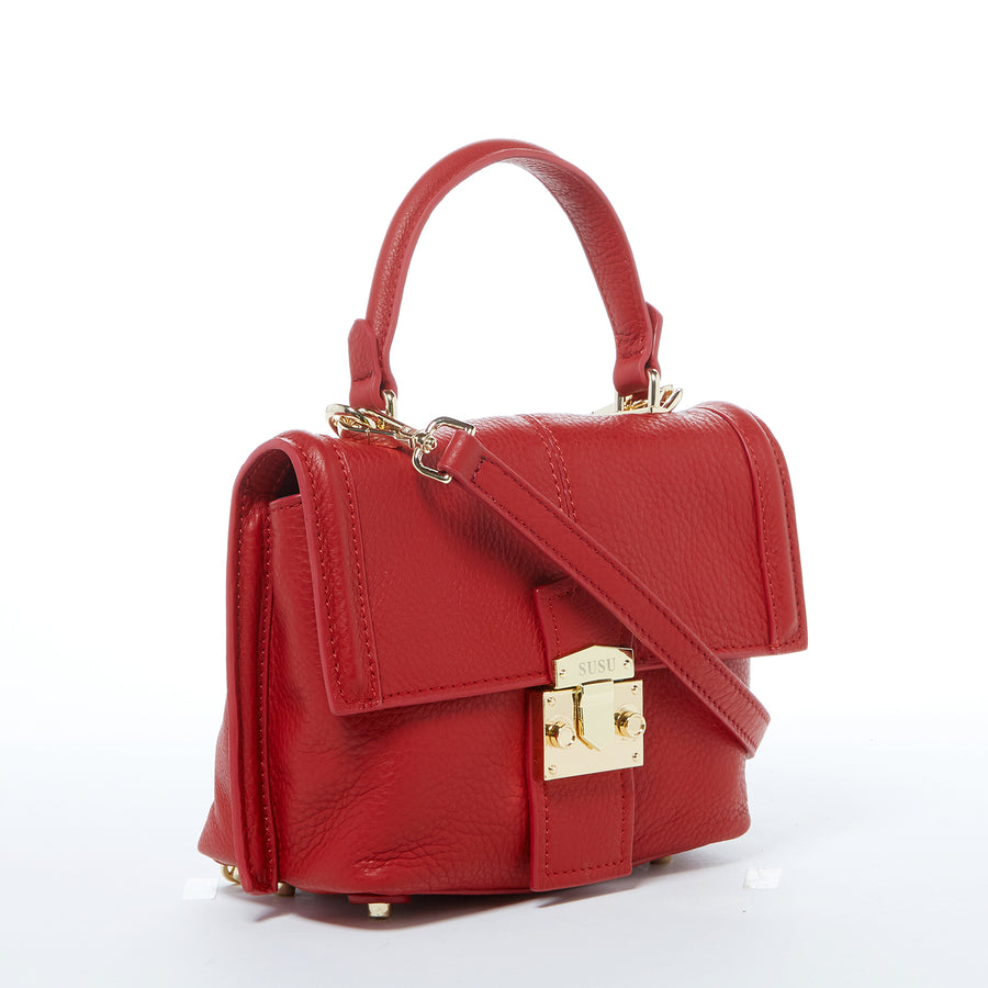 Convertible Red Leather Backpack