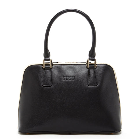 Melissa Saffiano Leather Dome Satchel Black