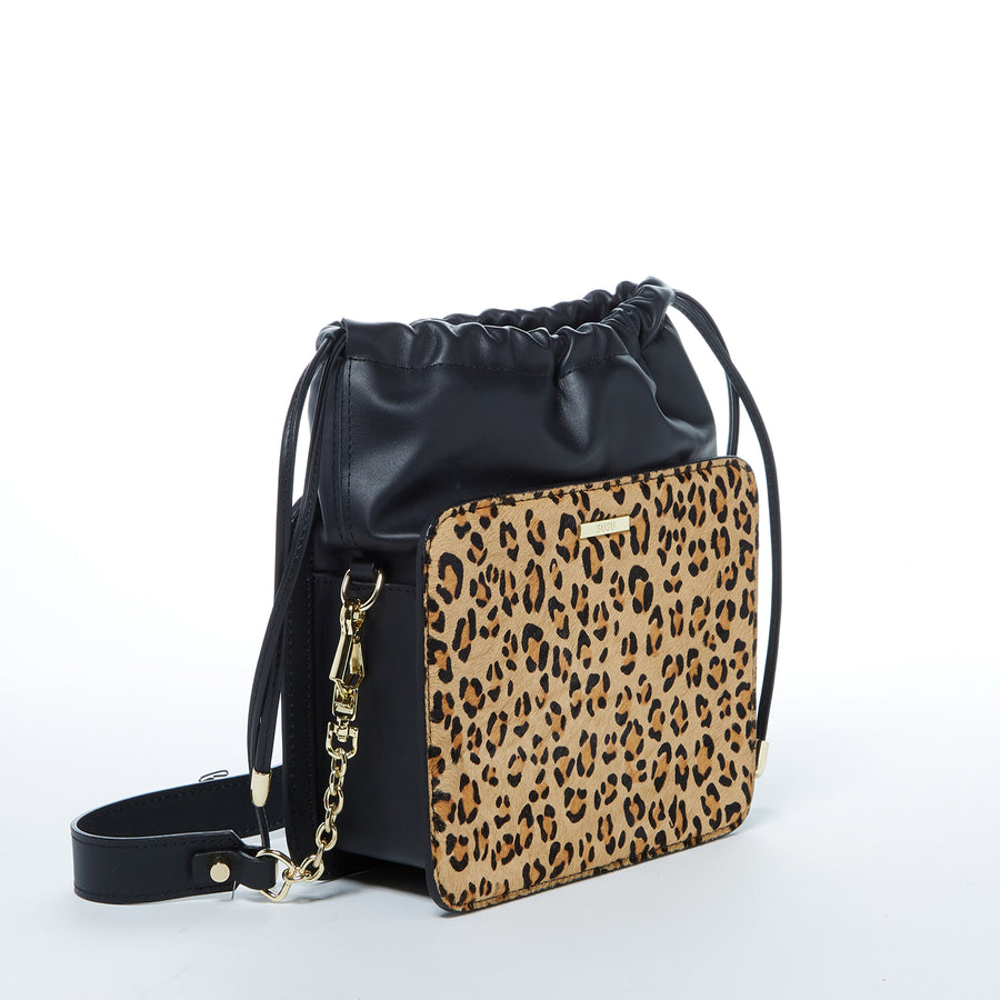 Leopard Print Designer Leather Bucket Bag