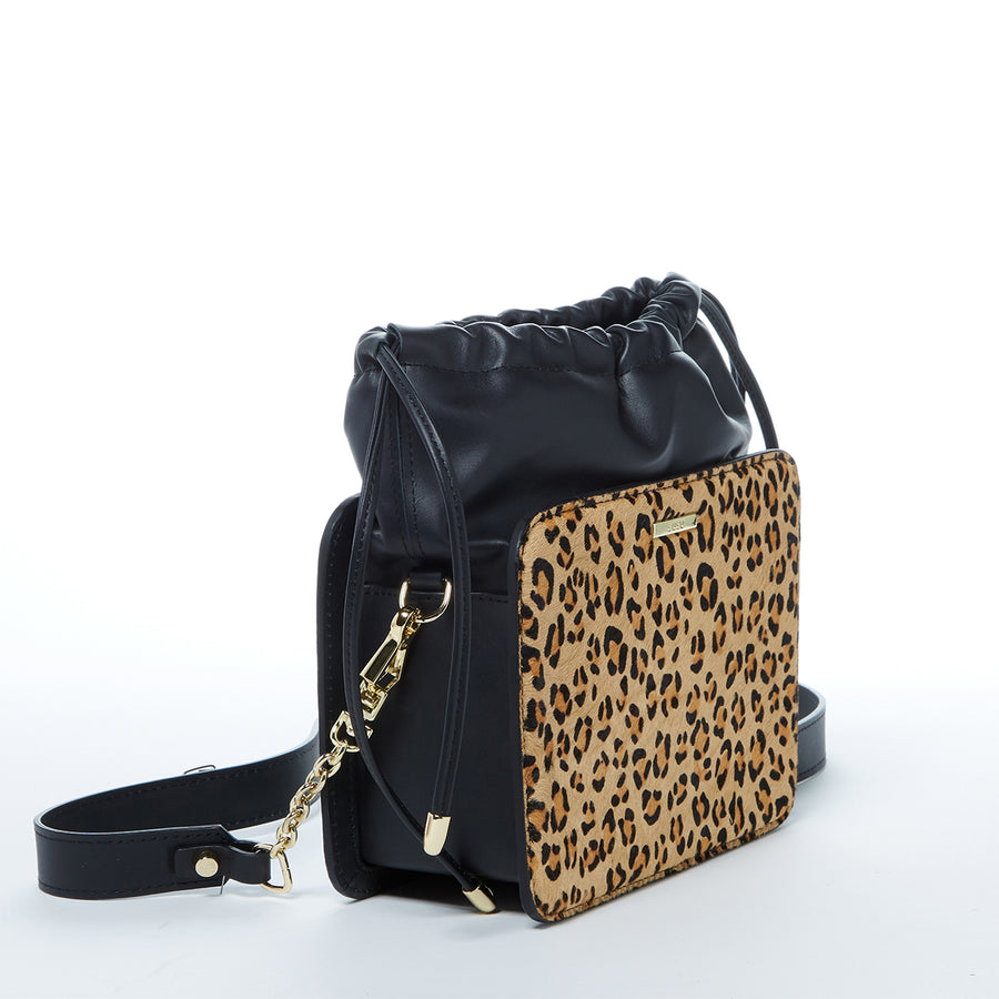Leopard Print Black Bucket Bag, Luxury Leopard Print Black Leather Handbag, Convertible Bucket Bag, Leopard Print Leather Bucket Bag, Luxury Bucket Bag