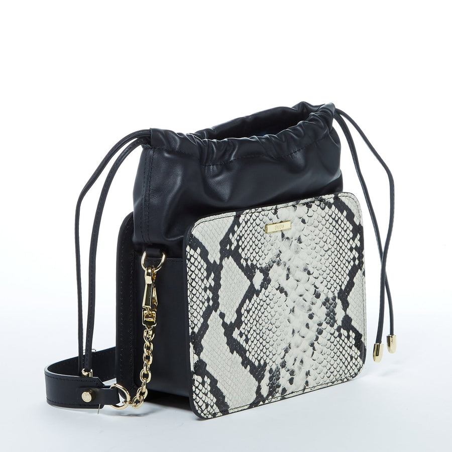Snakeskin Bucket Bag, Snakeskin Handbag, Snakeskin Bucket Purse, Leather Snakeskin, Black and White Handbag, Leather Bucket Bag, Luxury Handbag, Luxury Snakeskin Handbag