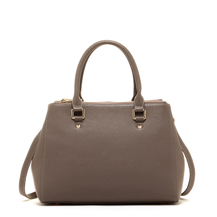 Gray Leather Satchel Bag