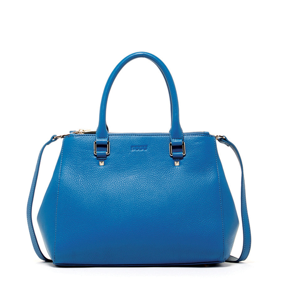 Blue Leather Tote Bag