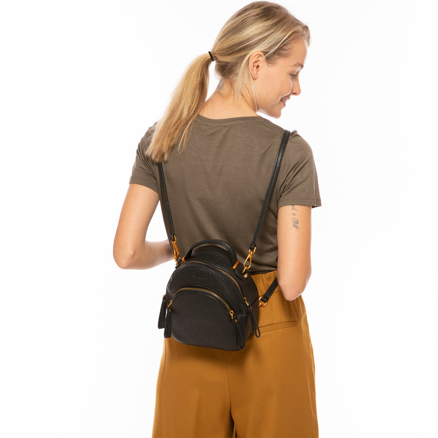 black leather backpack women