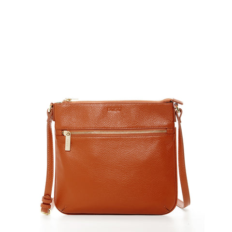 Saxon Leather Small Crossbody Brown