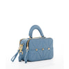 The Atlanta Leather Small Studded and Quilted Crossbody Bag Provincial Blue