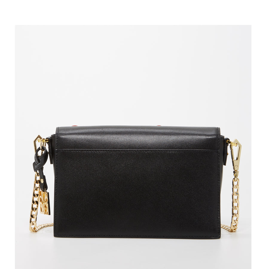 Black Leather Designer Crossbody