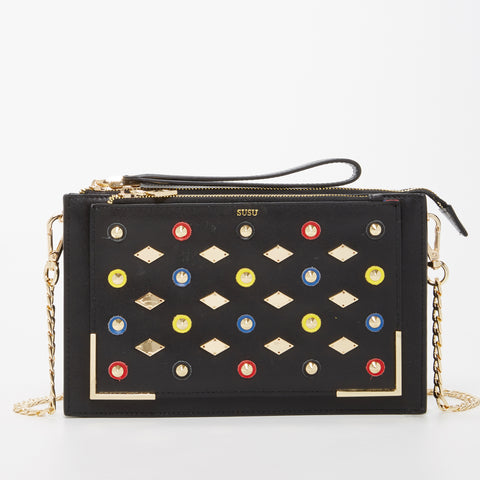 The Austin Leather Crossbody Clutch Bag With Studs Black