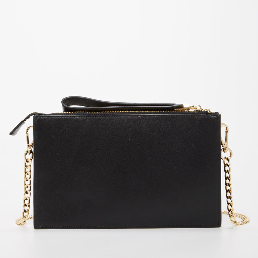 Black Leather Chain Purse