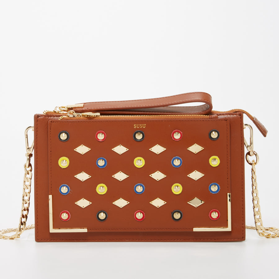 Brown Studded Crossbody Clutch