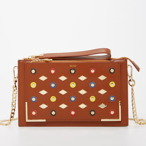 The Austin Leather Crossbody Purse Big Clutch with Studs Cognac