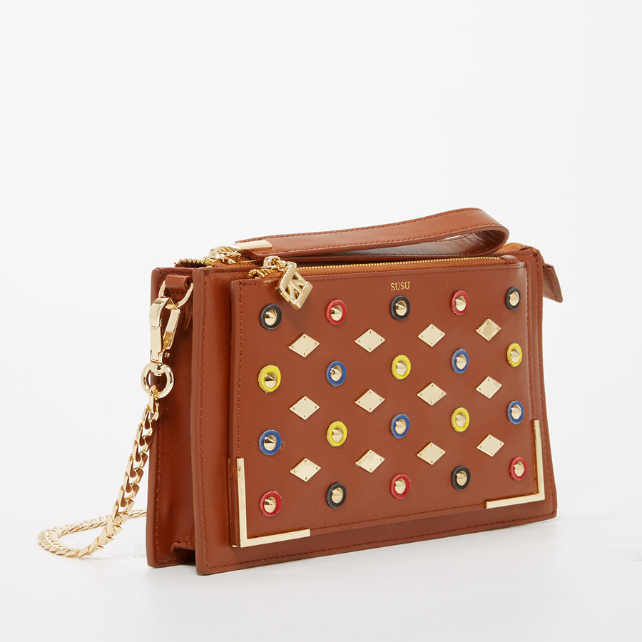 Brown Leather Studded Purse