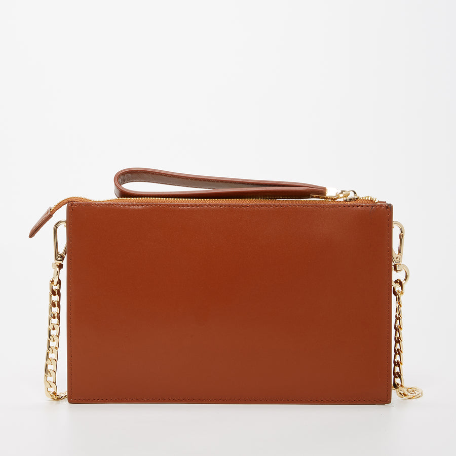 Brown Leather Chain Purse