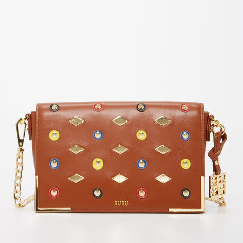 The Austin Leather Crossbody Shoulder Bag With Studs Brown
