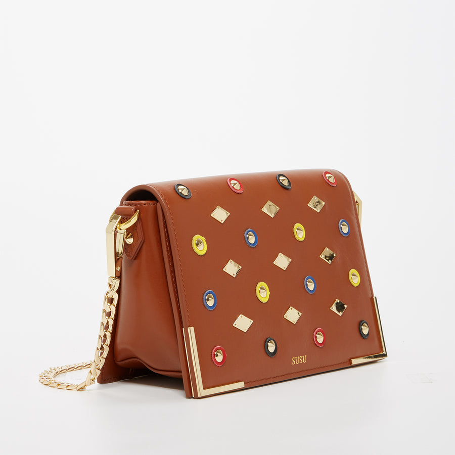 Brown Studded Crossbody Bag