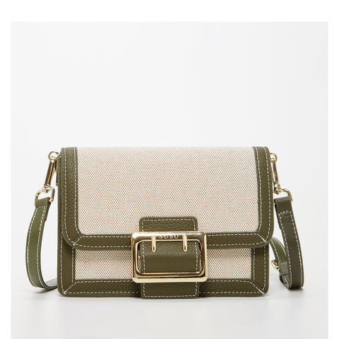 The Cambridge Crossbody Beige Canvas Combine with Army Green Leather