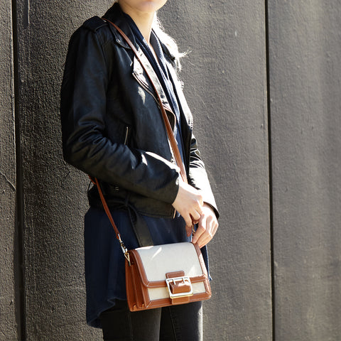 The Cambridge Crossbody Beige Canvas Combine with Light Brown Leather