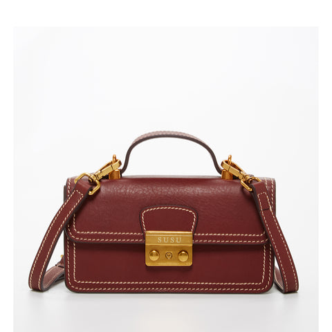 The Dallas Leather Phone Crossbody Bag Wine Brown