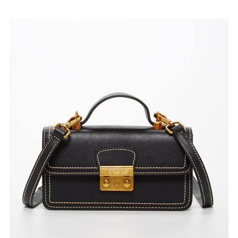 The Dallas Leather Phone Crossbody Bag Black