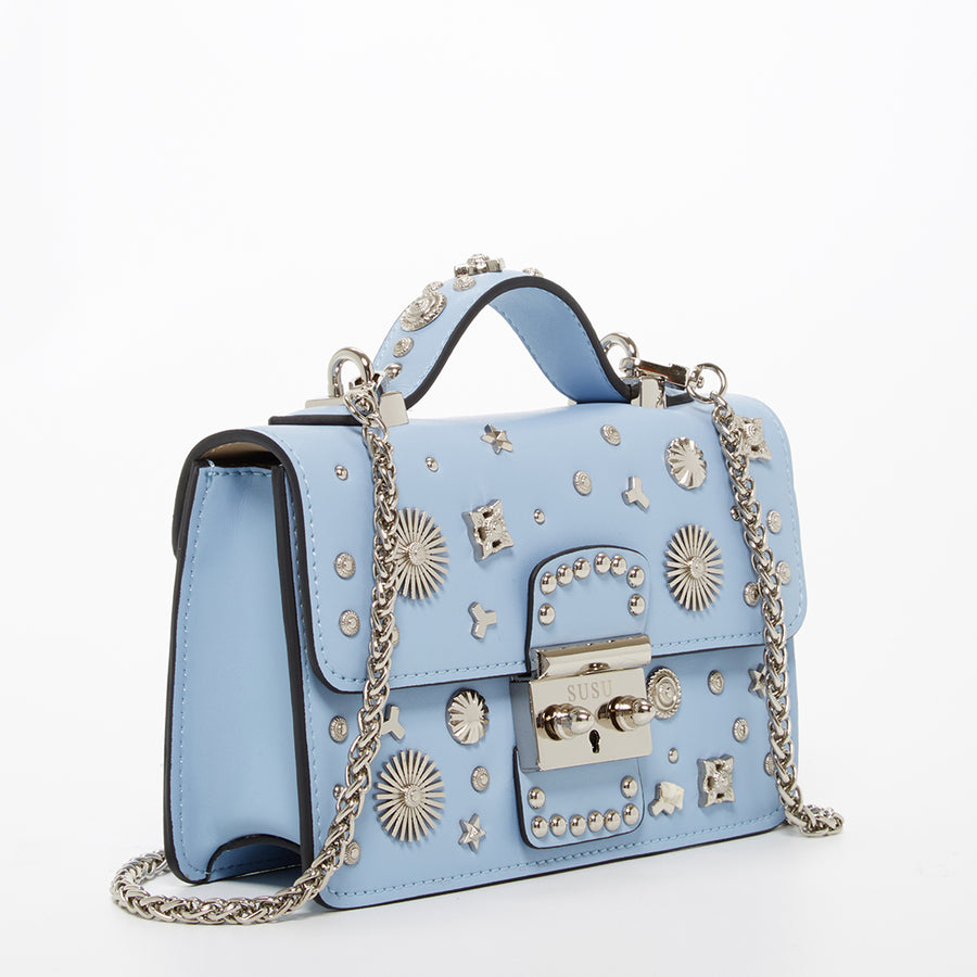 Light blue leather studded bag | SUSU Handbags