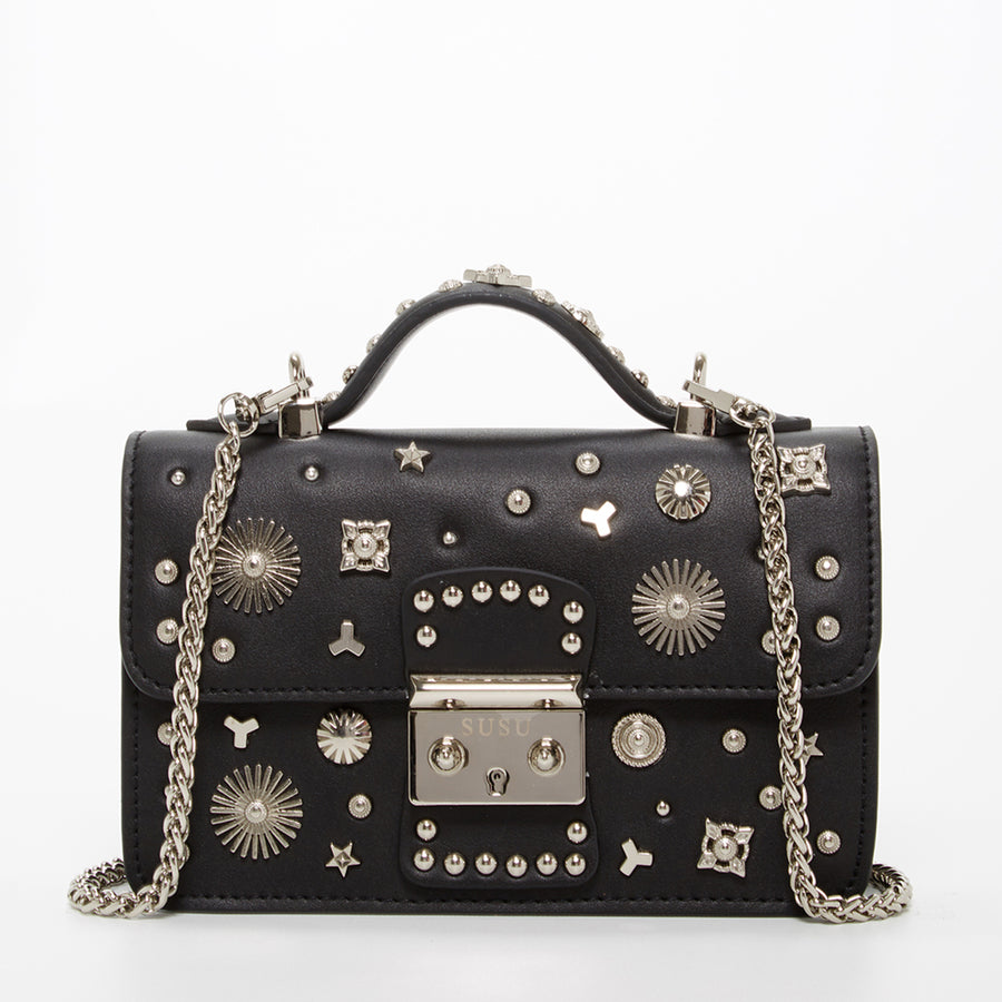 Studded Black Leather Crossbody | SUSU Handbags