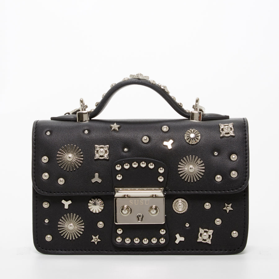 Black leather studded small purse | SUSU Handbags