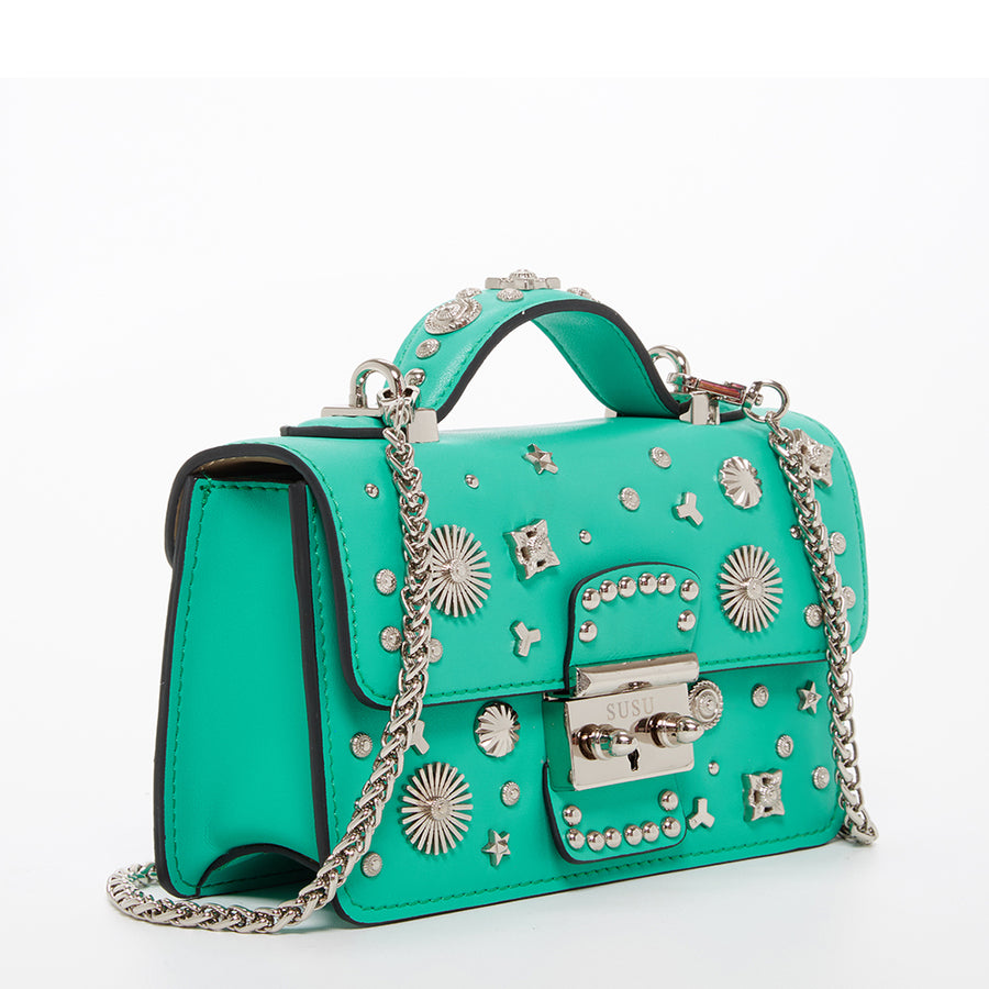 Arcadia green leather studded crossbody purse | SUSU Handbags