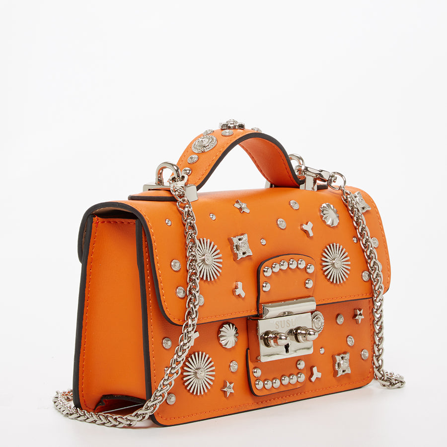 Orange studded leather crossbody | SUSU Handbags