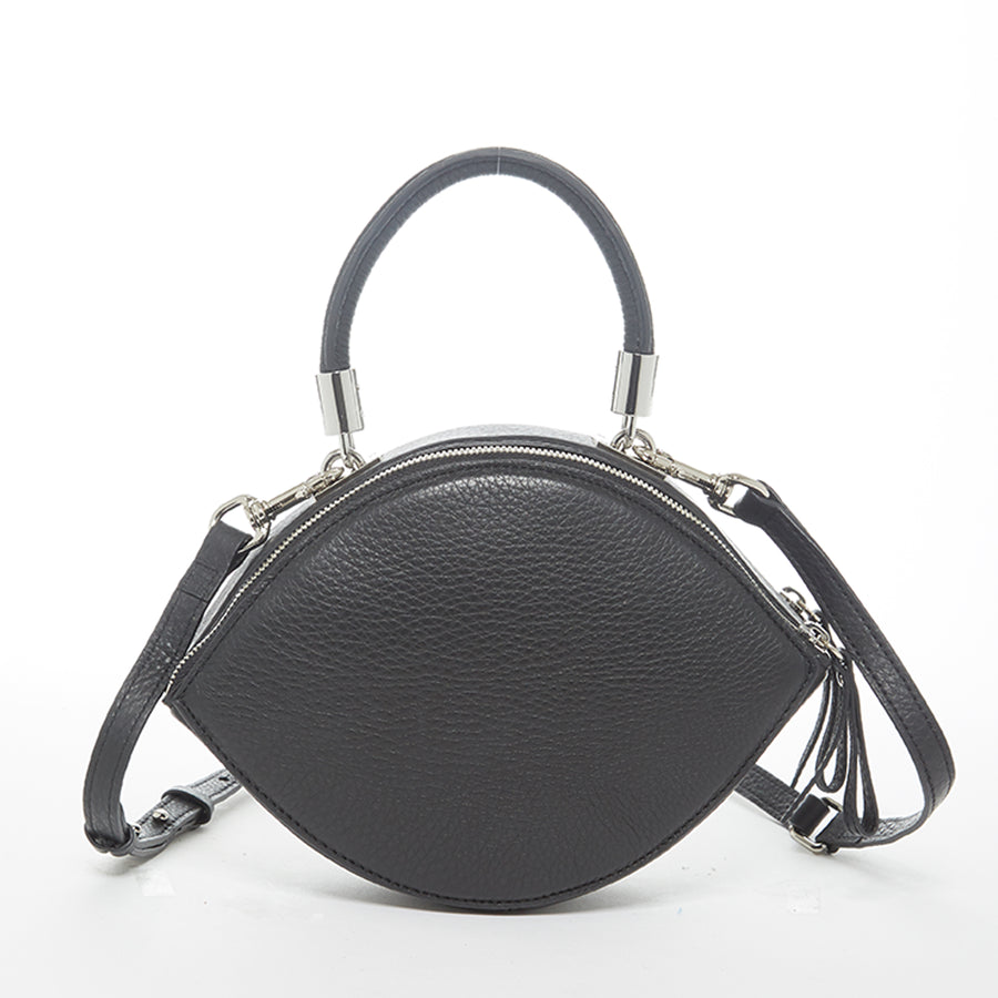 Black leather circle purse | SUSU Handbags