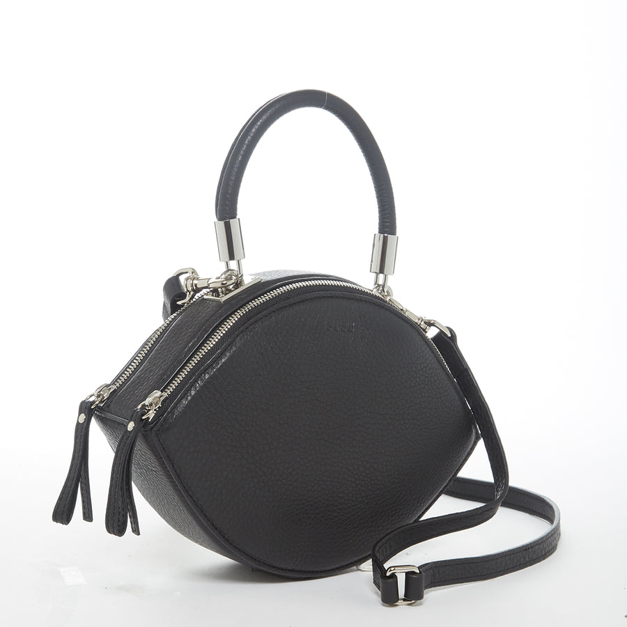 Black leather circle handbag | SUSU Handbags
